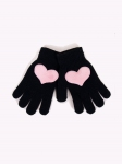 Rękawiczki YO! R-235A/5P Z Aplikacją Serce/Korona dziewczęce